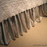 striped bedskirt, gathered dustruffle