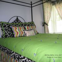 lime green and black bed spread