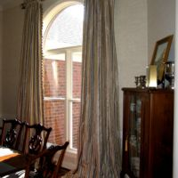rod pocket drapes with ruffle and handsewn trim