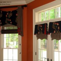 Pole Valance with Cascades, Woven Wood Shade, Pleated Valances and Roman Shades with Shaped Hem